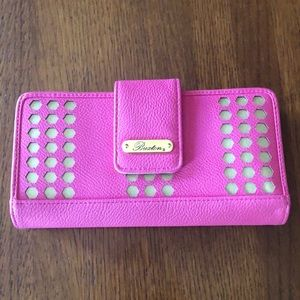 NEW Buxton hot pink & gold genuine leather wallet